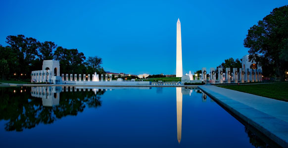 View of the Washington Monument and WWII Memorial in Washington, D.C.