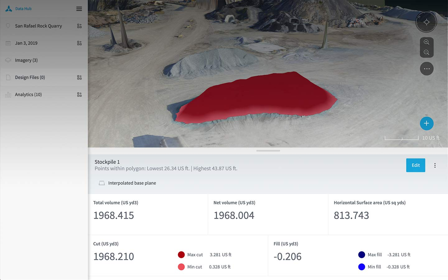 Volume calcs drone analytics in Data Hub