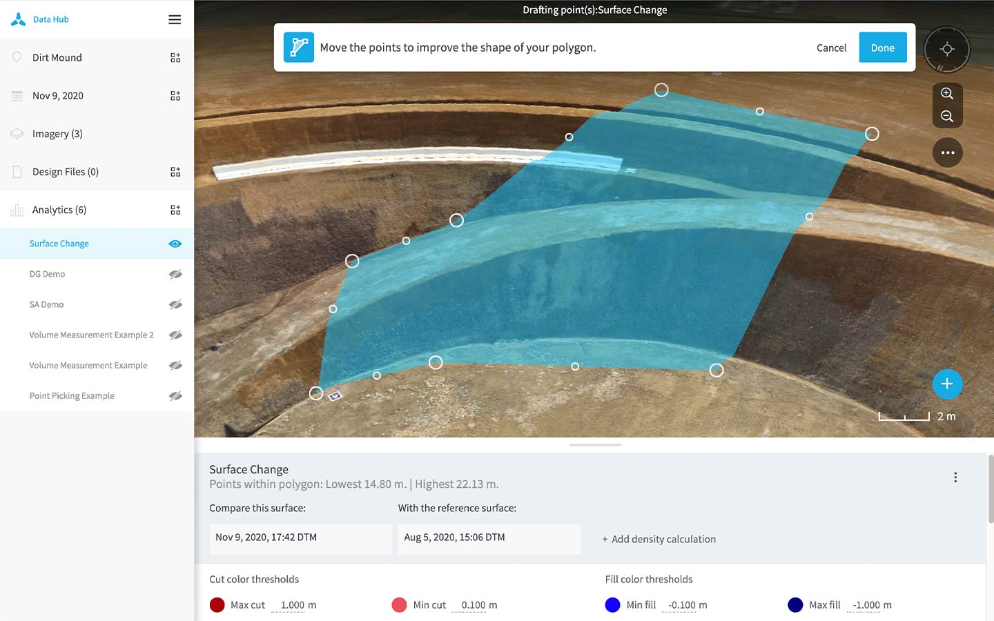 3D changes over time drone analytics in Data Hub