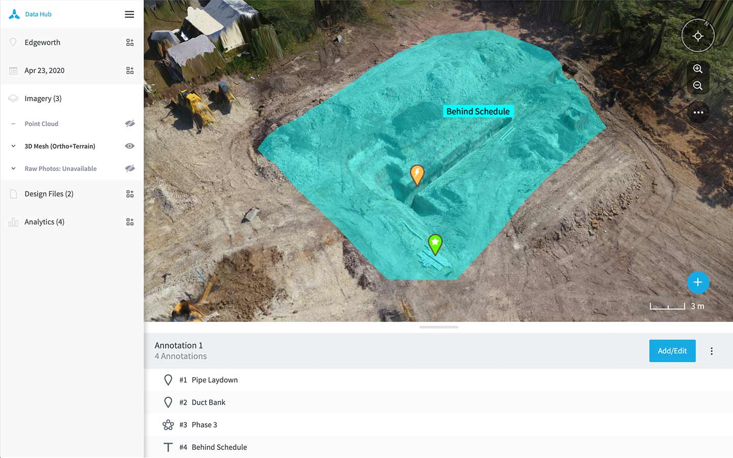 Annotations drone analytics in Data Hub