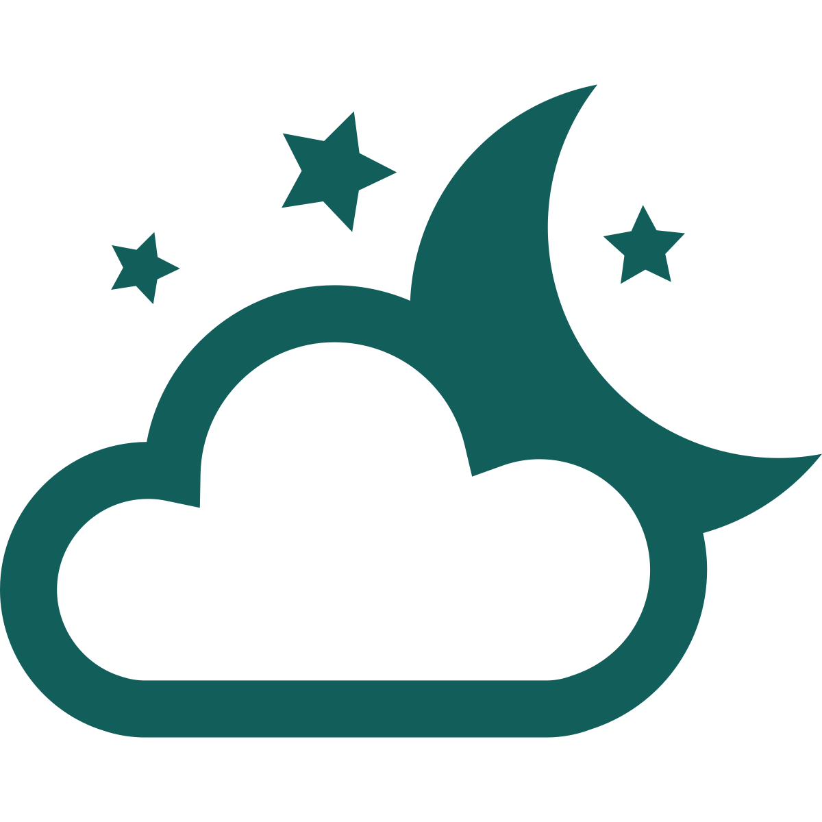A cloud, moon, and stars icon